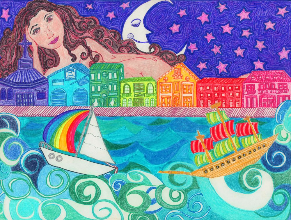 Oh Captain! Colorful original illustration by Isabel Sydow.