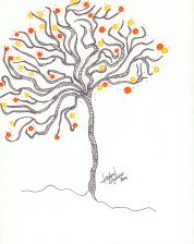 Hand drawn illustration by me Isabel Sydow in the color scheme used in the art work hanging in our Sonoma guest house walls.