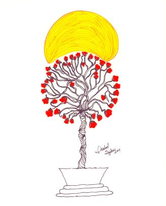 Enlightened Tree hand drawn illustration by me, Isabel Sydow. Hangs in The Big and Juicy Grape, our Sonoma Valley Guest house.