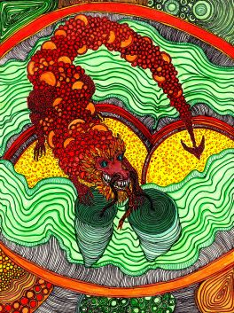 Year of the Dragon. Hand drawn original illustration hangs in The Big and Juicy Grape, our wine country vacation guesthouse.