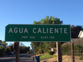 Street sign which used to be right outside the complex where The Big and Juicy Grape is located. Agua Caliente is in maps but now deemed Sonoma. Up to 3 years ago, Agua Caliente's population was still measured independently.