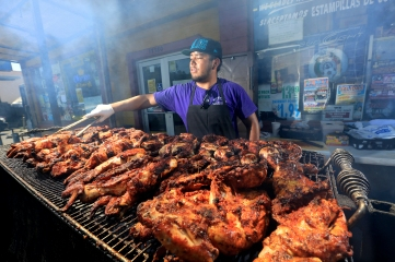 Grilled chicken at El Brinquito Market just steps away from The Big and Juicy Grape a Wine Country Airbnb.