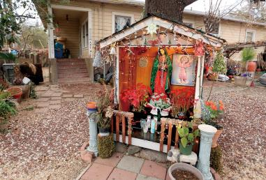 Altar to the Virgen de Guadalupe Built and maintained by our neigbors one driveway away from our Sonoma Valley guest house.