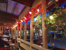 El Molino Central patio at night. The best Mexican food in the Bay Area just steps away from The Big and Juicy Grape, our Guesthouse in Sonoma Valley.