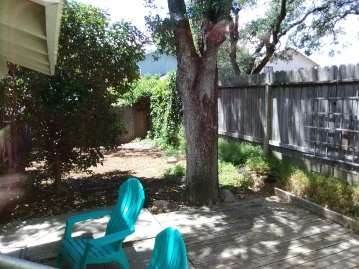 Spacious and private yard as seen from dining window in Richard and Isabel's Airbnb in Sonoma Valley.