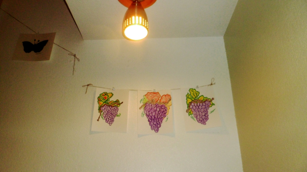 Colorful lighting and wall decor at our Sonoma Valley guest house The Big and Juicy Grape.
