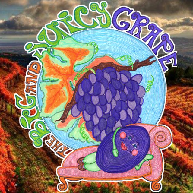 The Big and Juicy Grape logo floating over Moon Mountain rows of grapes.