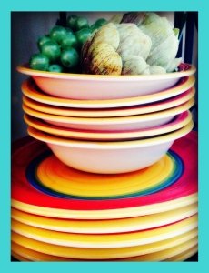 Colorful Ceramic Dinnerware at our Wine Country Guesthouse The big and Juicy Grape.