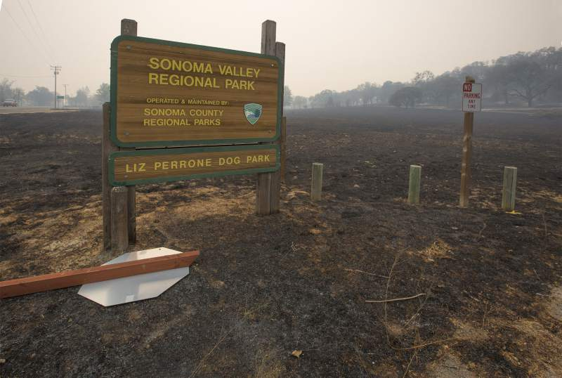 Sonoma Valley Regional Park sign immediately after the October 2017 firestorm.