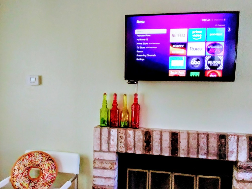 Roku TV with free streaming channels and NetFlix.