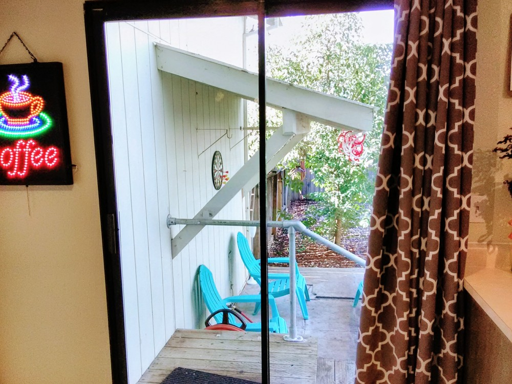 Sliding glass door access to patio.