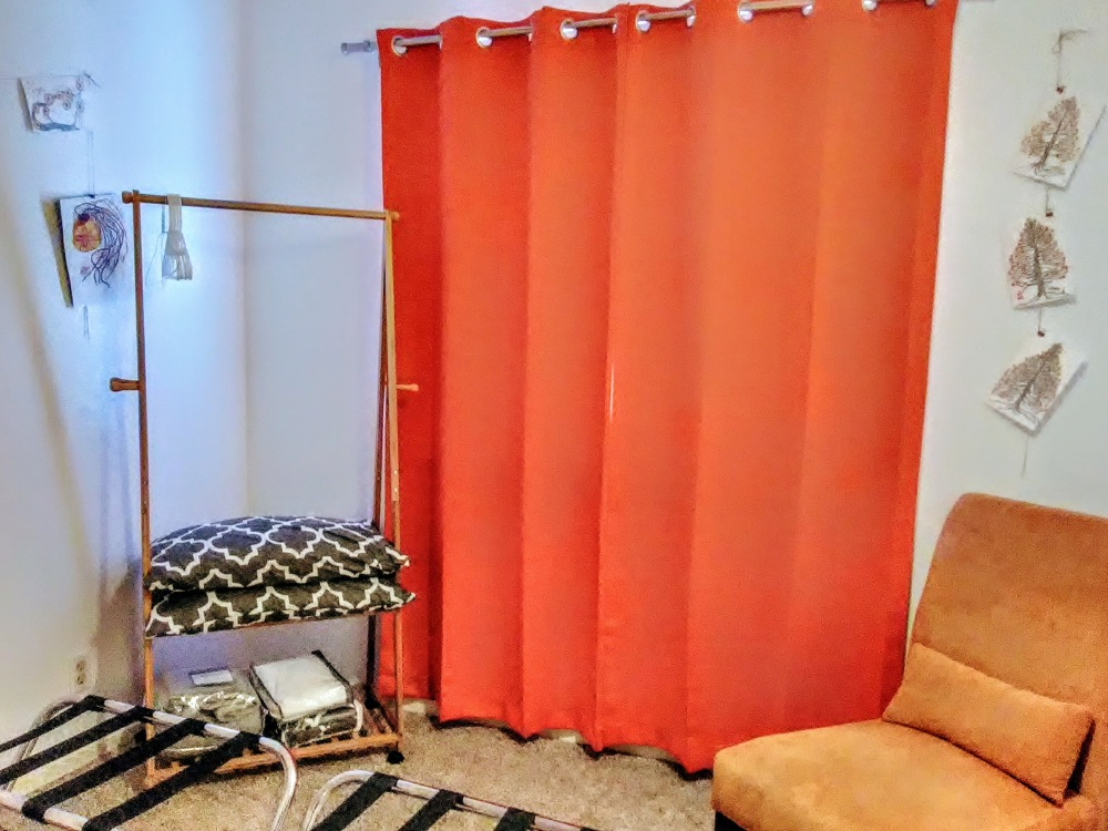 Black out curtain in the Orange Room.