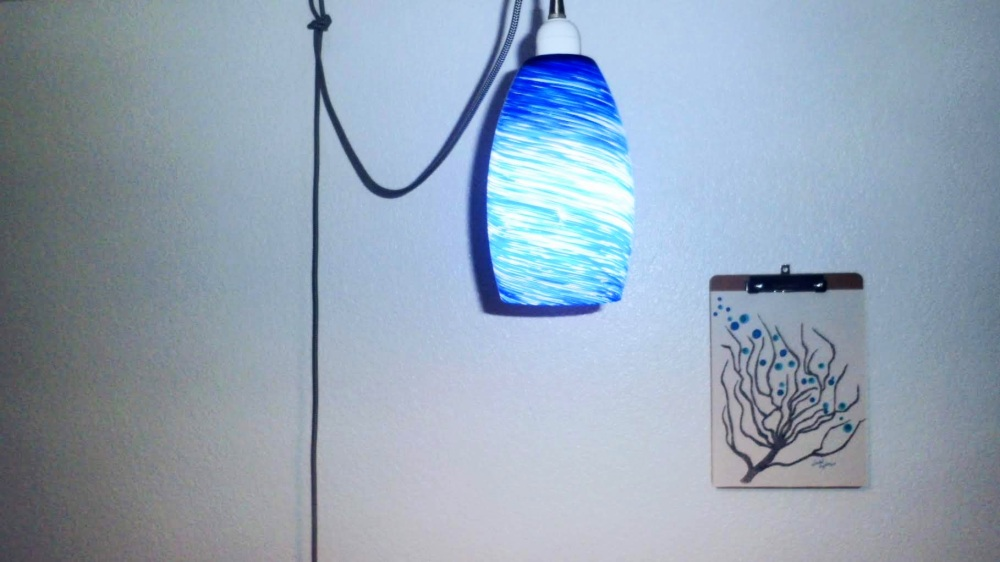 Hanging light fixture in Blue Romm by Richard.