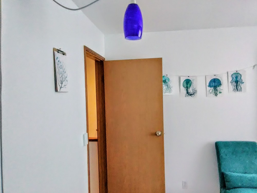 Hanging light fixture and original illustrations in Blue Room.