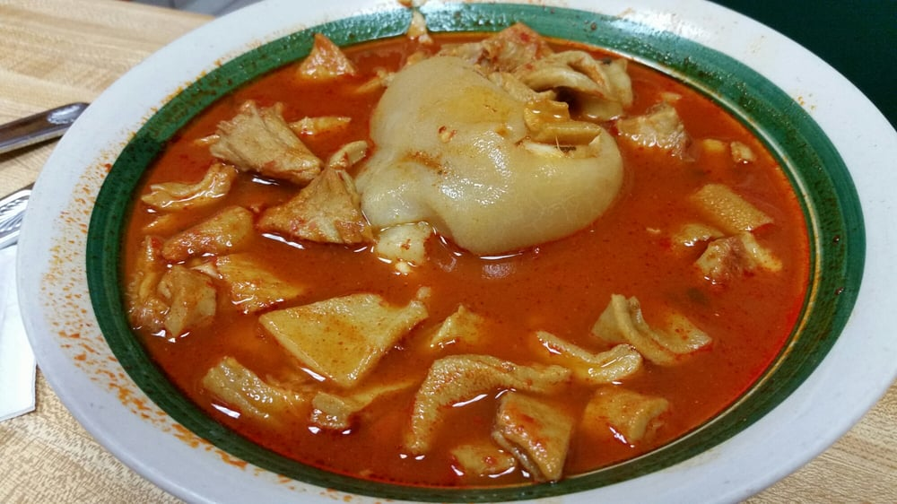 menudo soup (chile colorado bone broth, tripe and trotter)